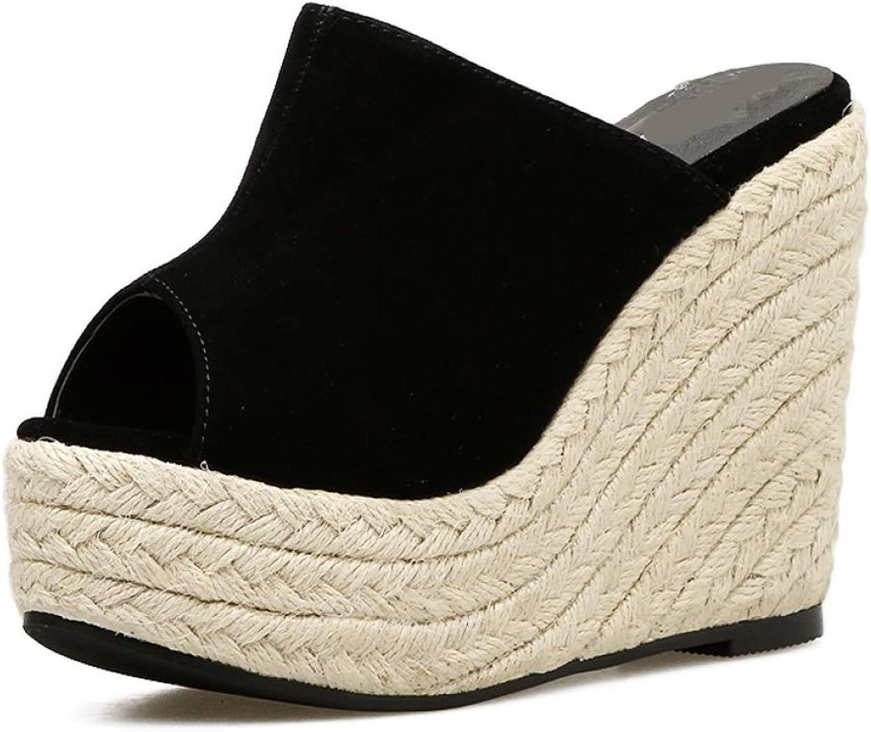 MEIZOKEN Womens Suede Wedge Sandals Comfort Non-Slip Peep Toe Platform shoes Summer Casual Espadrilles Silppers