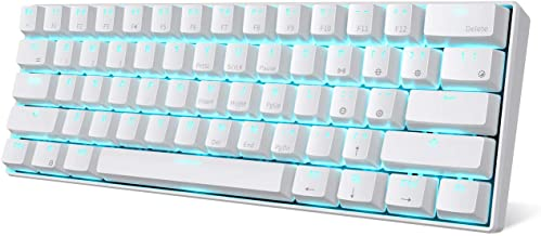 RK ROYAL KLUDGE RK61 Wireless 60% Mechanical Gaming Keyboard, Ultra-compact Bluetooth Keyboard with Tactile Blue Switches, Compatible for Multi-device Connection, White