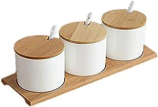 HJUYV-ERT Simple Vie Céramique Cuisine contenants Alimentaires Organisateur bocaux pour épices sucrier boîte à Condiments ...