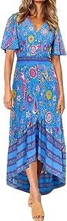 Summer Floral Boho Flowy Dress - Short Sleeve V Neck High Low Midi Beach Dress