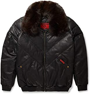 Leather V-Bomber Jacket Black with Brown Fox Fur