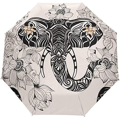 Automatische Regenschirme In-dian Floral Animal Elephant Rutschfester, winddichter, kompakter Regenschirm für Frauen, Männer