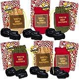 North Pole Enterprises Inc. Santa's Naughty List Set - Bundle Includes Lump of Coal in Bag with Santa's Naughty List Button Pin in Designer Gift Bag (Multi - Set of 6)