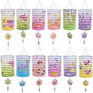 (なないろ館)ミニちょうちん 12個セット 花模様 提灯 お盆 初盆 飾り 用品 七夕 装飾 夏祭り お祭り