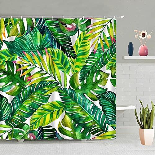 XCBN Tropische grüne Pflanzen Palmblatt Duschvorhang Sommer Dschungel Stoff wasserdichte Haken hängende Vorhang Dekoration A2 150x180cm
