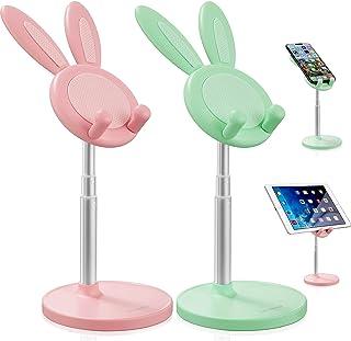 Frienda 2 Pieces Cute Bunny Phone Stands Adjustable Rabbit Phone Holder Desktop Cell Phone Holder Stand Bunny Phone Kickst...