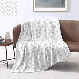 Mademai Winter Plush Weave Blanket Pattern with Ornate Snowflake Motifs and Dots Retro Christmas Inspired Repetitive Household Blanket 60
