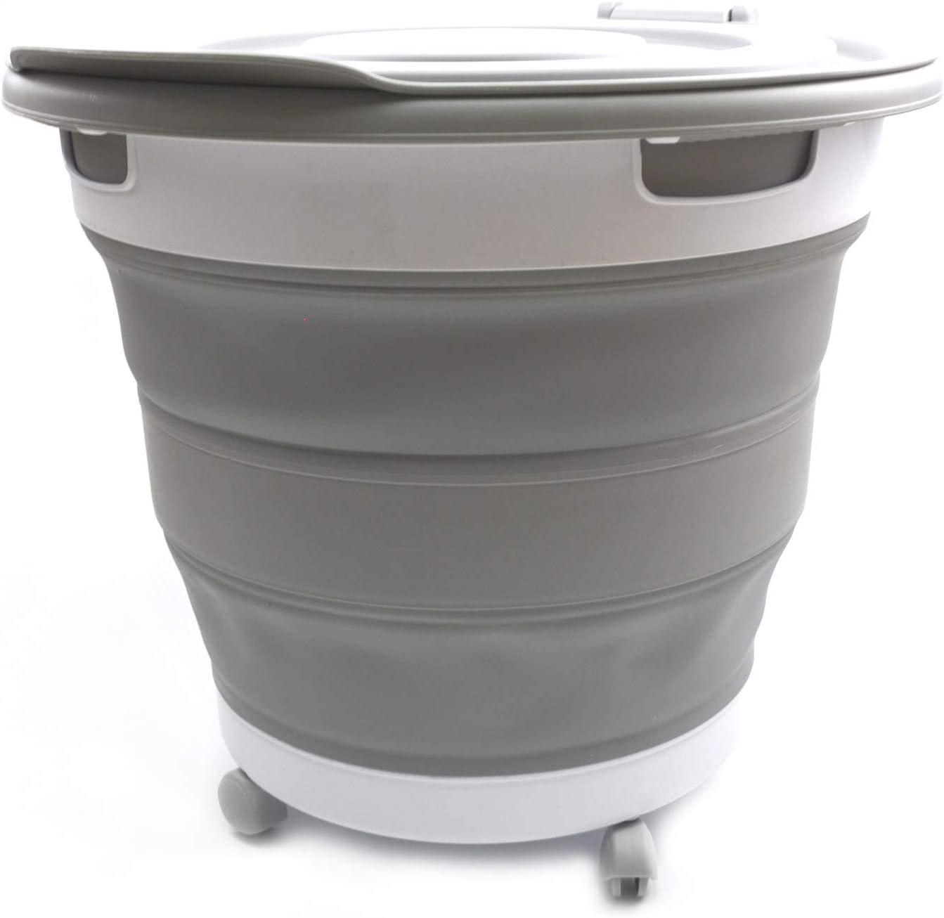 お買い得品 SAMMART Collapsible 限定特価 Plastic Garbage Bin wheels with and Removabl