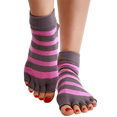 Ruanyu Women's Gift Striped Yoga Toe Socks Casu...