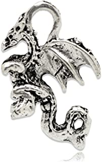 Housweety 50 Silver Tone Winged Dragon Charm Pendants 21x14mm