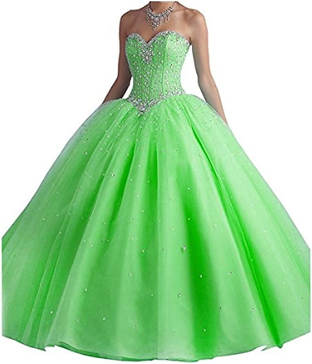 ANGELA Women's Long Prom Dress Beads Ball Gown Tulle Quinceanera Dress
