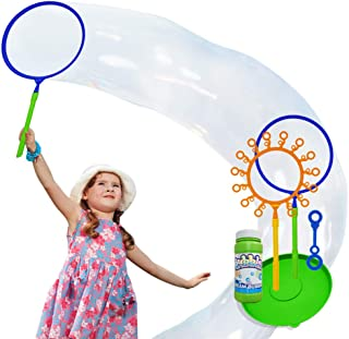 OleOletOy Giant Bubble Wand Set: Big Bubble Maker Toy for Kids and Adults, Fun Outdoor and Indoor Activity for Girls, Boys, Toddlers and Children to Enjoy with Tray and 1 Mini Wand
