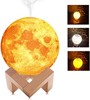 880ML Air Humidifier 3D Moon Lamp Light USB Ultrasonic Humidificador Night Cool Mist Purifier (with Wood Stand)