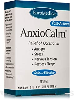 Euromedica AnxioCalm - 40 mg Echinacea Angustifolia, 45 Tablets - Non-Addictive Anxiety & Stress Relief Supplement, Non-Drowsy - Non-GMO, Gluten-Free - 22 Servings