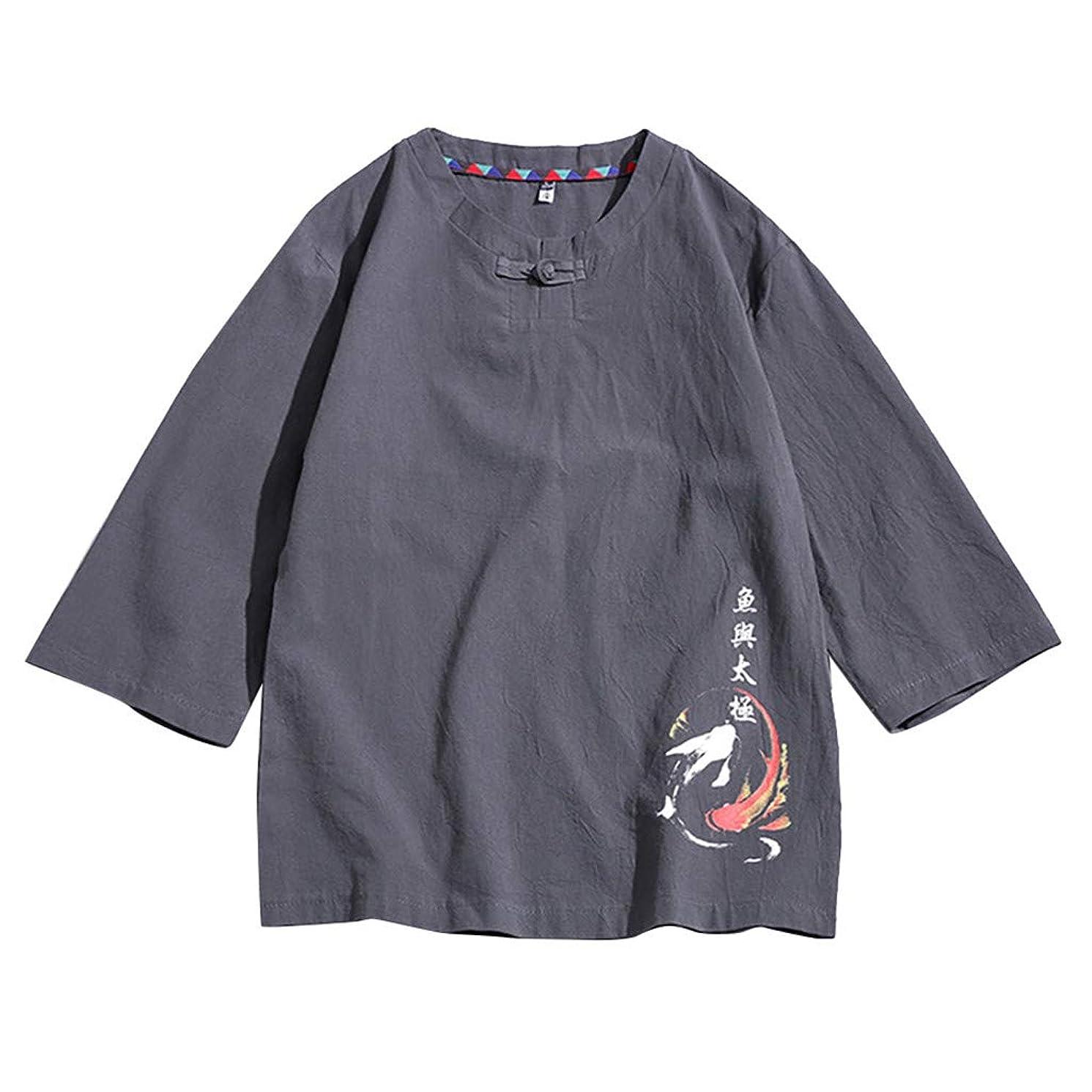 JJLIKER Men's Linen Henley Shirt Casual Short Sleeve T Shirt Pullovers Tees Summer Retro Comfort Tops Tee Blouse