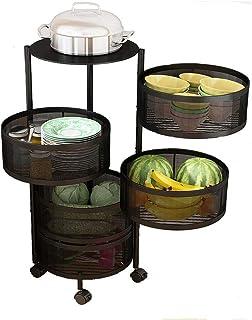 MUzoo Étagères rotatives Planque de Pochette de Cuisine, Panier de Rangement de légumes rotatifs Ronds et de Fruits 3Layer...
