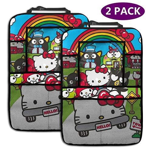 TBLHM School Hello Kitty Lot de 2 Sacs de Rangement pour siège arrière de Voiture avec Support pour Tablette