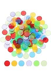 Color Mixto SUPVOX fichas de Bingo Transparentes Reutilizables Suministros de Bingo contadores de fichas Contables para matem/áticas de ni/ños