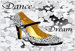 Fashion Bath Rug Cinderella Crystal Shoes Teen Girl Dance and Dream Non-Slip Doormat Floor Entryways Indoor Front Door Mat Bathroom Rugs 15.7X23.6In