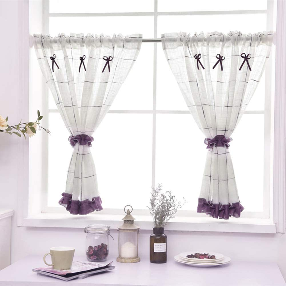 Cotton Linen Popular brand in the world Genuine Free Shipping Tier Curtains Checkered Kitchen Short for Curtain