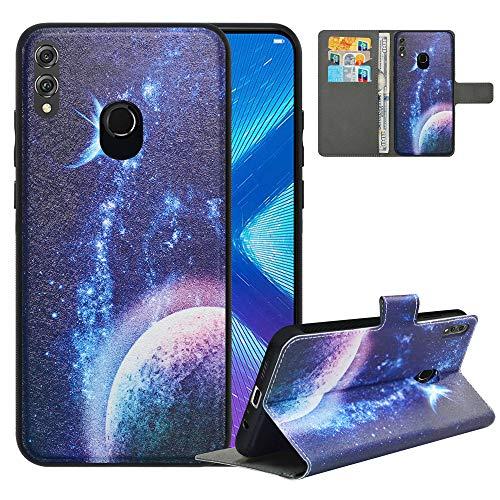 LFDZ Handyhülle für Honor 8X Hülle,Premium 2 in 1 Abnehmbare PU Ledertasche für 8X Hülle,[RFID-Blocker] Flip Hülle Brieftasche Etui Schutzhülle für Huawei Honor 8X Hülle,Planet