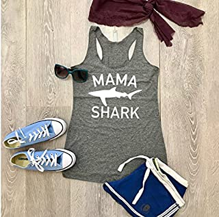 Mama Shark. True To Women's Fit. Hand Made. Made To Order. Heather Gray. Women's Eco Tri-Blend Tanks. Women Clothing. Disney Inspired Tank. Super Soft Tank.