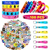 108 Pack U/R Birthday Party Supplies Favors Gifts Set Include 100 Cute Stickers, 6 Among Us Bracelets, 2Key Chain for Video Game Among Us Fans Kids, Aesthetic Stickers, Cute Stickers, Laptop Stickers