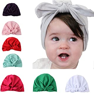 Sainfee 8 Pieces Baby Turban Hats Knot Headbands Newborn Baby Girl Soft Cute Turban Knot Toddler Hat