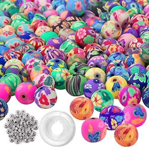 Quefe 300pcs Round Polymer Clay Beads Assorted Colorful Pattern Handmade Loose Beads with 50pcs Spacer Beads and Crystal String for Jewelry Making (10mm)