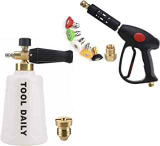 Tool Daily Pressure Washer Foam Cannon for Car Wash, Short Pressure Washer Gun with 5 Nozzle Tips