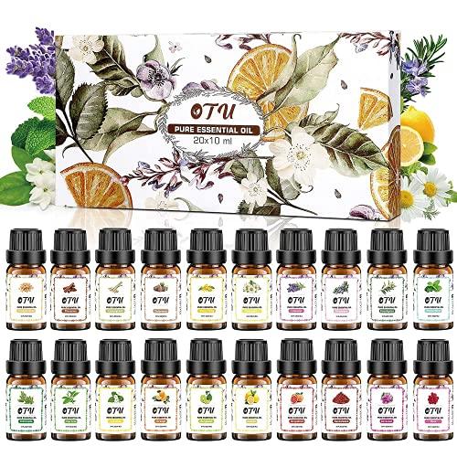OTU Naturreine Ätherische Öle (20 Packs), 20x10 ml 100% Reines Therapeutisches Öle Set, Pure Duftöl Bio Aromatherapieöle Geschenkset für Diffusor Massage & DIY 0.34...