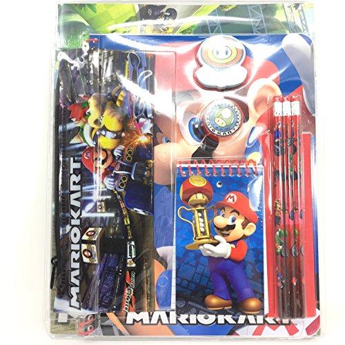 Super Mario - Juego de 11 Piezas de papelería en Bolsa con cabecero