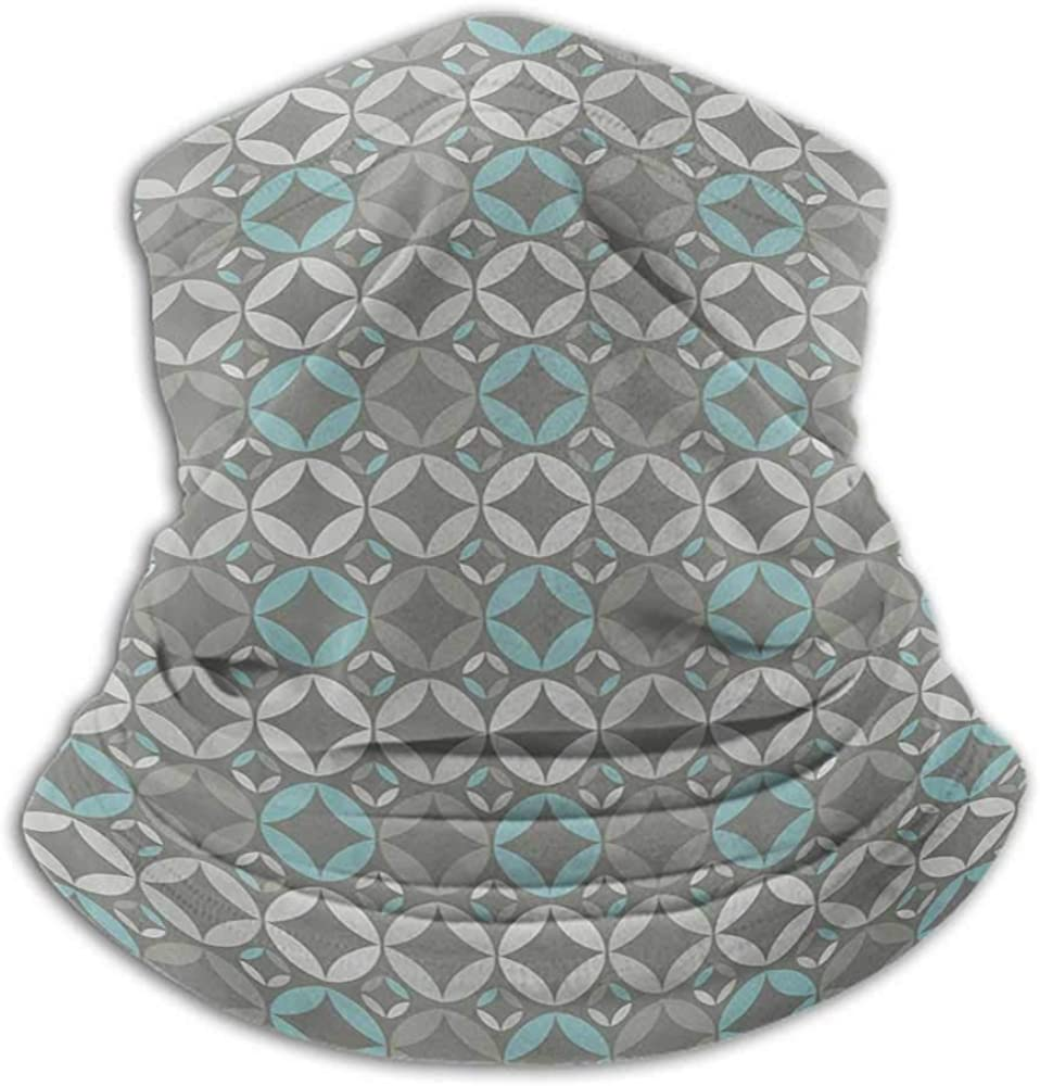 Neck Gaiter Grey and Blue Sun Dust Bandanas For Fishing Motorcycling Running Retro Styled Abstract Overlapping Circles with Color Details Grey Pale Blue Pale Grey