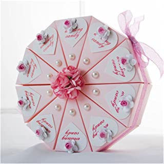Gift Box 20pcs Blue/Pink Flower Triangular Cake Style Custom Name Date Wedding Party Candy Boxes Chocolate Boxes Gift Box ...