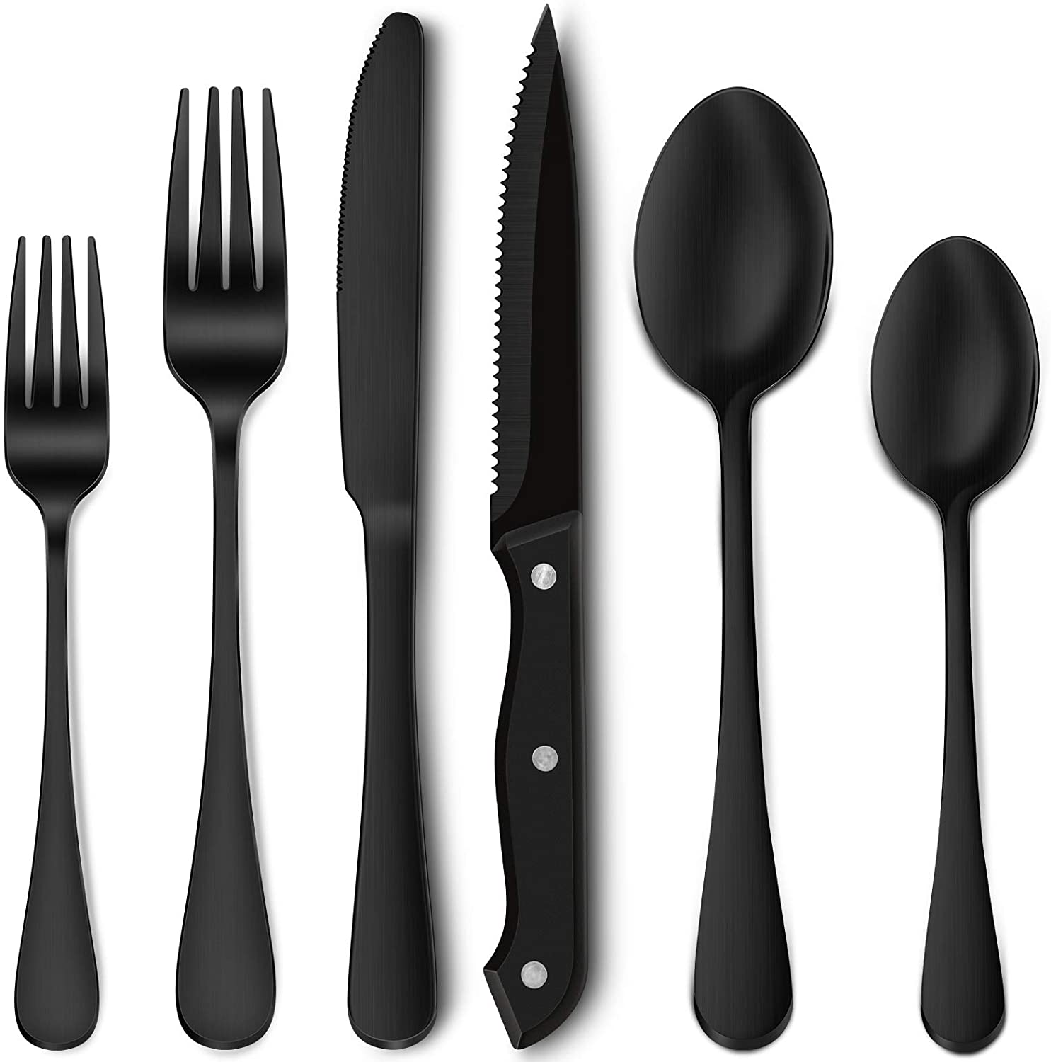 72-Piece Matte High material Black Silverware Set with for Knives Steak 12 Charlotte Mall St
