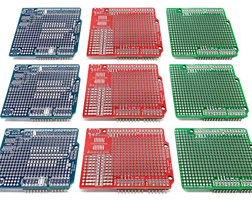 Electrocookie Proto Shield Kit Compatible with Arduino Uno R3, Expansion Prototyping PCB Board (3 Types, 9 Pack)
