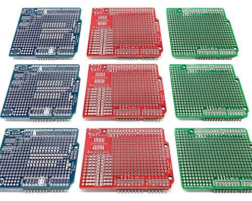 Electrocookie Proto Shield Kit für Arduino Uno R3, Expansion Prototyping PCB Board (3 Typen, 9 Stück)