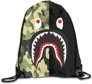 Bape Blood Shark Half Green Camo Drawstring Backpack Rucksack Shoulder Bags Training Gym Sack For Man And Women