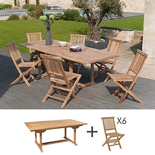 MACABANE 500927 Salon de Jardin Couleur Brut en Teck Dimension 180/240cm X 100cm X 75cm