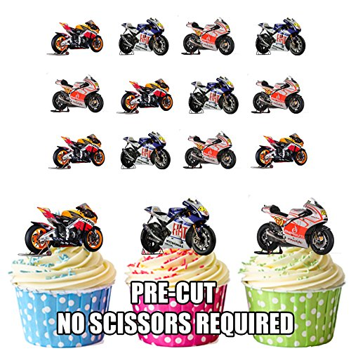 Moto GP Motorräder Ducati Honda Yamaha Mix 12Esspapier Cup Cake Topper Dekoration