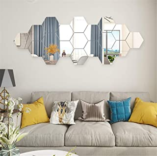 12PCS Mirror Wall Stickers 3D Hexagon Acrylic Mirror Wall Decor DIY Art Wall Sheet Plastic Removable Mirror Wall Sticker Tiles for Bathroom Bedroom Living Room TV Background Wall Decoration (Silver)