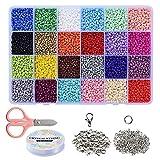 Braleto Cuentas de Colores para Hacer Joyas, 3mm Mini Cuentas de Semillas Sueltas de Vidrio, Juegos de Manualidades y DIY Pulseras con Caja de Almacenamiento de Plástico(24 Colores)