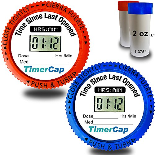 TimerCaps Automatically Records Built-in Stopwatch Bottle Cap For Pill Organizer | Standard Size Medication Organizers (2 Pack)