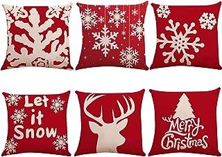 6er Pack Weihnachtsdekoration Kissenbezüge, Baumwoll Leinen Kissenbezüge Weihnachtsbaum Schneeflocke Rentier Schlafzimmer Dekoratives Kissen für die Dekoration Weihnachtsferien Geschenke, 18
