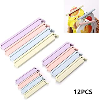 Bag Clips for Food, 12Pcs Snack Bag Sealing Clips for Food, Multi-Colors Reusable & Eco-Friendly Bag Fresh-Keeping Clamp Sealer for Kitchen