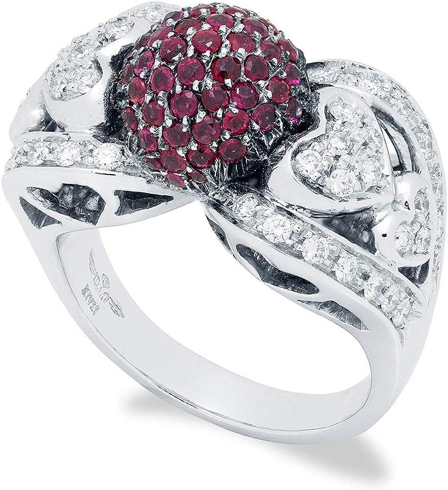 B.&c. gioielli anello donna in oro bianco con sfera in rubini e diamanti vvs. completamente fatto a mano. anbec08