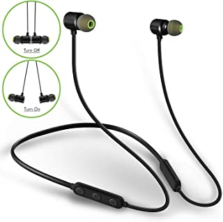 MINDBEAST Neckband Headphones Wireless Bluetooth Stereo Earphones Deep Bass with 3 CVC6.0 Noise Cancelling Mic IPX5 Sweatproof for Sports Gaming and Music Handsfree Phone Call- ON OFF Magnetic Earbuds