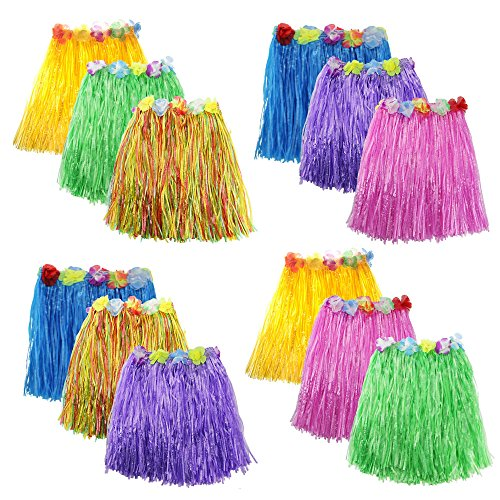 Zilong 12 Pack Elastic Hawaiian Grass Hula Skirt?Dance Dresses luau Party Favors
