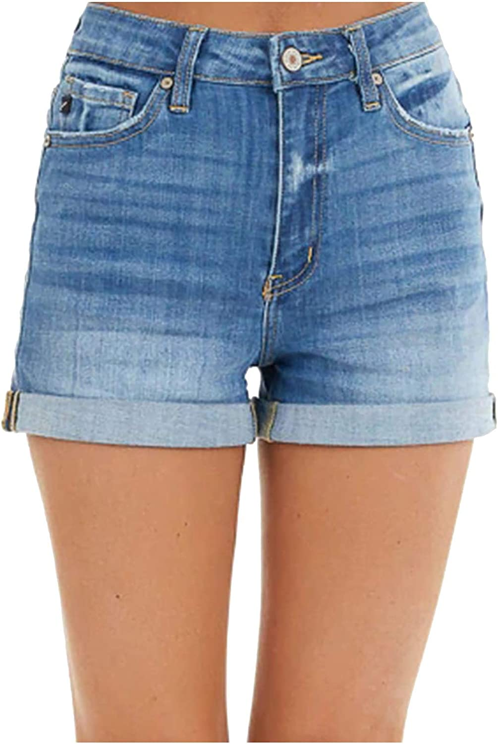 Euone_Clothes Jeans Pant for Women, Women's Rolled-up High-Waist Solid Color Straight Casual Jeans Shorts