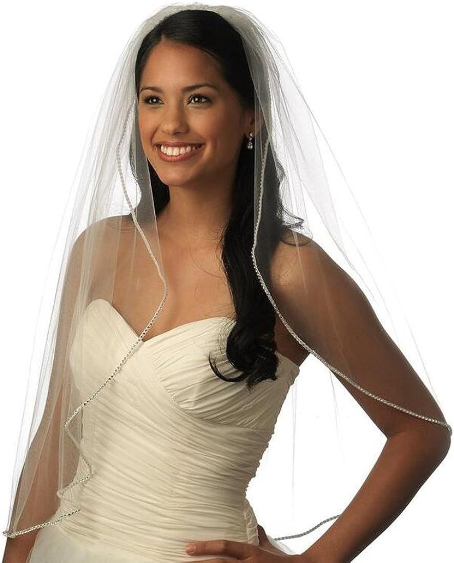 Top-Sexy 1Tier single tier bridal Rhinestone veil Very popular! Houston Mall Edge Sparkling